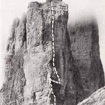 Route von Paul Preuss und Relly am Preuss Turm an der Kleinsten Zinne der 3 Zinnen